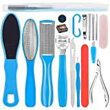Stainless Steel Pedicure Kit Professional Exfoliation Calluses 17 Pcs Foot File Set For Women And Men At Home Or Travel Or Salon to Foot Care