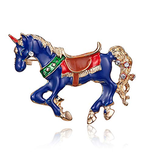 XZFCBH Broschen Blauer Emaille Kristall Pferd Brosche lebendige Tier Broschen für Kinder Frauen Männer Mantel Kragen Anzug Schal Schmuck Einhorn