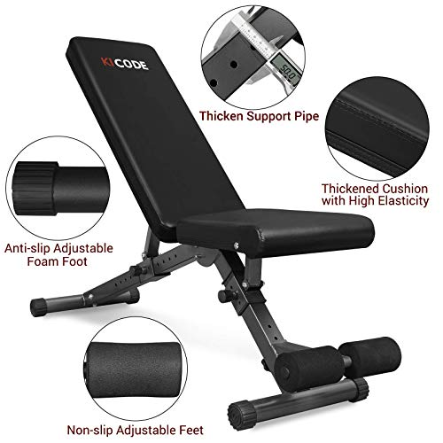 KICODE Weight Bench, Adjustable Strength Training Bench for Full Body Workout, Multi-Purpose Foldable Incline Decline Exercise Workout Bench for Home Gym