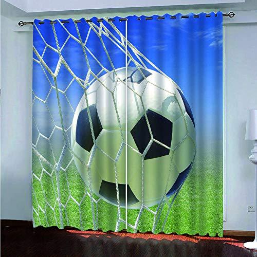 xczxc Gardinen Blickdicht Fußball 2er Set Verdunklungsvorhang Soft Blickdicht Vorhang Gardinen mit Ösen Verdunkelungsgardinen für Schlafzimmer Wohnzimmer 2X B110x H215 cm