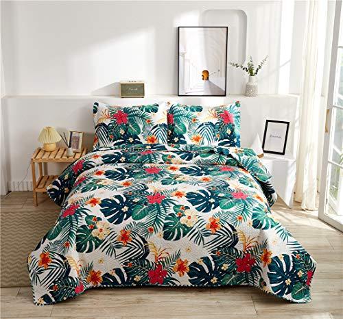 "Yc Rainforest Quilt Set Tropical Flowers Bed Cover Set Jungle Plant Bedspread for Couples Plumeria Floral Printed Bedding Set King(96""x108"")"