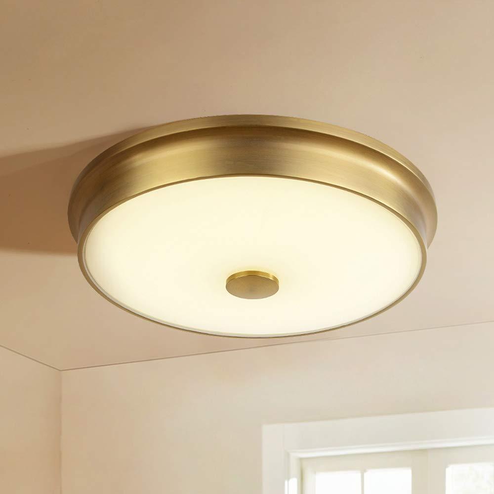Latón Plafones de LED lámpara de techo redonda vintage regulable ...