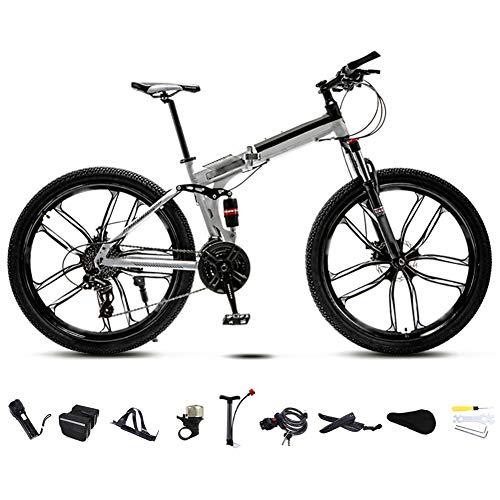 YRYBZ 24 Pulgadas 26 Pulgadas Bicicleta de Montaña Unisex, Bici MTB Adulto, Bicicleta MTB Plegable, 30 Velocidades Bicicleta Adulto con Doble Freno Disco/Blanco/C Wheel / 24'