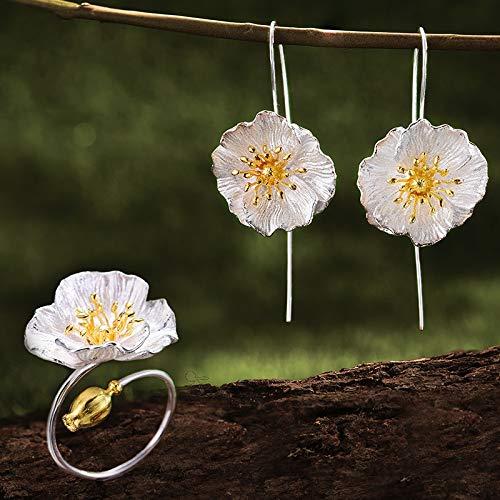 AdronQ 925 Silber Handmade Fine Jewelry Blooming Poppies Blumenschmuck Set für