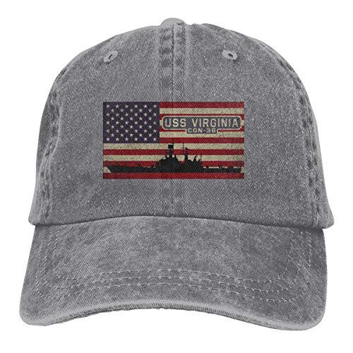 USS Virginia CGN-38 Sandwich Cap Denim Hats Baseball Cap