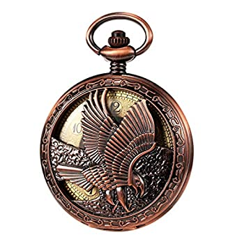 TREEWETO Mechanical Eagle Arabic Numerals Dial Skeleton Red Bronze Pocket Watch Watches with Gift Box and Chains for Mens Women