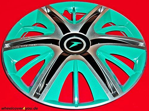J-Tec 4 Maximus Style-RADKAPPEN Silber-türkis-schwarz -14 Zoll-NEU-TOP
