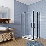 Mampara de ducha Angular,120x90x195cm, con antical,perfilería negra,estilo industrial,Cristal templado de 8 mm,incluye barra de soporte 30 cm