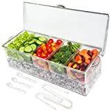 Elegant Events Ice Chilled 5 Compartment Condiment Server Caddy - Serving Tray Container with 5 Removable Dishes with Over 2 Cup Capacity Each and Hinged Lid | 3 Serving Spoons + 3 Tongs Included