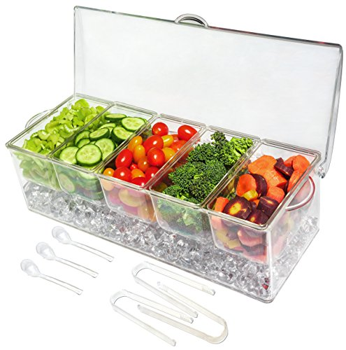 Elegant Events Ice Chilled 5 Compartment Condiment Server Caddy  Serving Tray Container with 5 Removable Dishes with Over 2 Cup Capacity Each and Hinged Lid | 3 Serving Spoons  3 Tongs Included