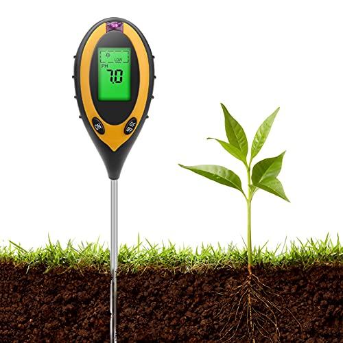 Aytop Misuratore di PH del Suolo, Tester del Terreno per Giardino 4 in 1 Kit per Test del PH del Suolo, umidità del Suolo per Terreno da Interno Giardino Esterno da Giardino Fattoria Prato
