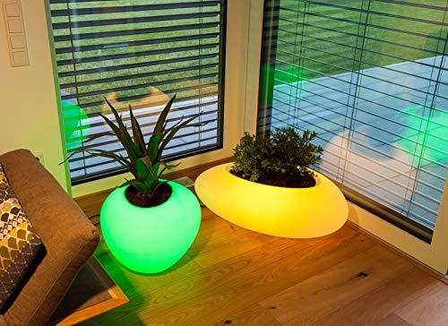 Degardo Storus VI beleuchteter Design Blumentopf, 82,5cm x 52cm x 30cm, Outdoor Licht - Blumengefäß - Außenleuchte (transluzent, RGB+W) PE-Pflanzgefäß als Außenbeleuchtung