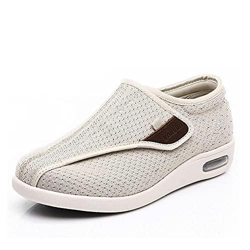 CYN Estar por casa Zapatos Diabéticos Respirable, Zapatos de la Calle Mayor de Verano Zapatos Transpirables Zapatos de Mediana Edad cómodos Zapatos Madre luz-Beige_37EU