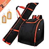Zacro Ski Bag & Boot Bag - Waterproof Skiing Bag Combo with 2 Luggage Tag, Store & Transport Skis Up to 195 cm, Excellent for Travel...