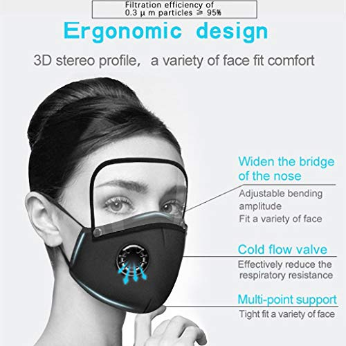 Reusable Face Covering with Breathing Valve Filter And Detachable Eye Shield Seamless Face Bandanas For Adults and Kids 2