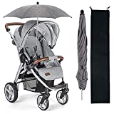 High-quality Materials: Pram parasol umbrella was made of UV protective waterproof satin material and and durable steel stand,the pushchair parasol can protect your child from the sun and rain. UV Protection 50+:The three-layer protection combination...