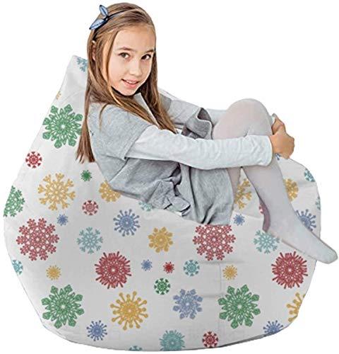 yxx Sitzsack Gefüllte Tierspeicher Beinbeutel-Stuhlabdeckung nur for Plüschspielzeug, Decken Baumwolle-Leinwand (Color : Colorful Snow)