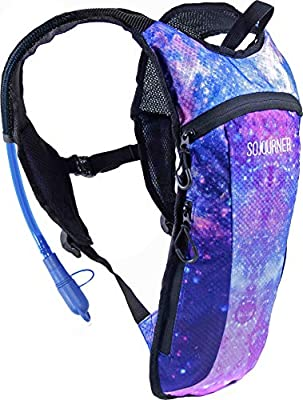 Sojourner Hydration Pack Backpack - 2L Water Bladder Included for Festivals, Raves, Hiking, Biking, Climbing, Running and More (Galaxy 1)