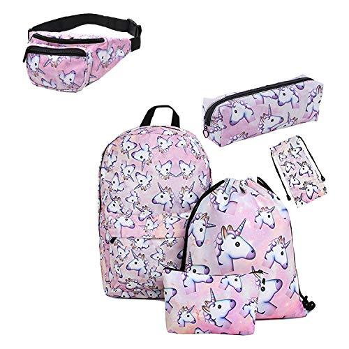 Giddah impreso unicornio Bolso de vidrios, caja de lápiz, bolso cosmético, bolso con cordón, Deportes riñonera,mochila 6pack Set adolescentes para la escuela (pink)