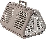 Rotho Toby, Caja de transporte plegable para gatos, perros pequeños y animales pequeños, Plástico PP sin BPA, beige, blanco, 53.4 x 42.5 x 12.4 cm