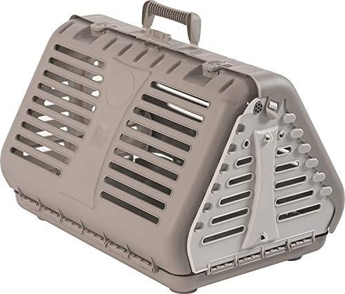 Rotho Toby Faltbare Transportbox für Katzen, kleine Hunde und Kleintiere, Kunststoff (PP) BPA-frei, beige/weiss, 53,4 x 42,5 x 12,4 cm