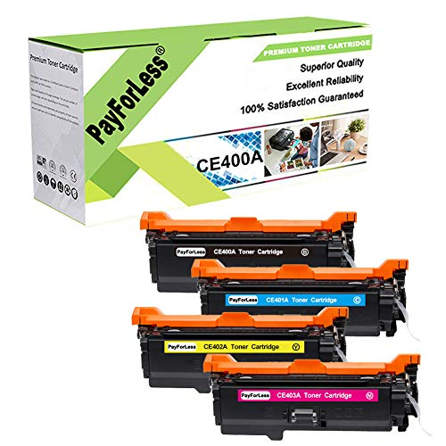 PayForLess 507A CE400A 504A CE250A Toner Cartridge 4PK Compatible for HP Colored Printer Laserjet 500 Color M551DN M551 MFP M575DN cp3525n cp3525 cp3525dn for hp 507a