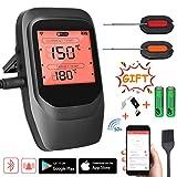 Familybox Grillthermometer Funk,BBQ Thermometer Bluetooth,Wireless Fleischthermometer Digital mit 2 Sonden,Rechtzeitiger Alarm und LCD-Anzeige