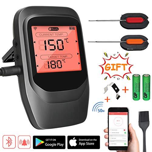 Familybox Grillthermometer Funk,BBQ Thermometer Bluetooth,Wireless Fleischthermometer Digital mit 2 Sonden,Rechtzeitiger Alarm und LCD-Anzeige, Unterstützt IOS Android für Küche Grill Backen