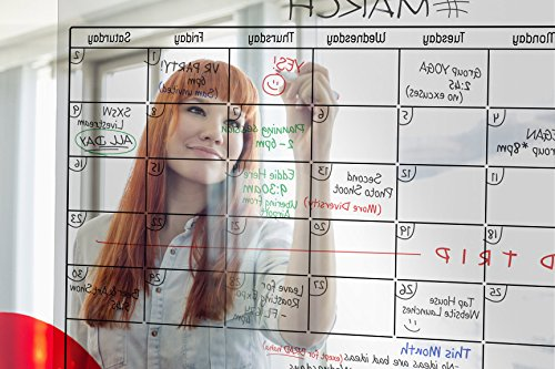"""Transparent Dry Erase Wall Calendar 34""""x 23""""- Erasable Large Monthly Planner by Urban Fringe Office (Clear w/Black Grid)"""