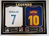 Camisetas firmadas por Cristiano Ronaldo y Lionel Messi