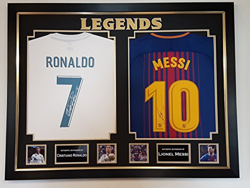 New Cristiano Ronaldo, Lionel Messi Signed Shirts Display