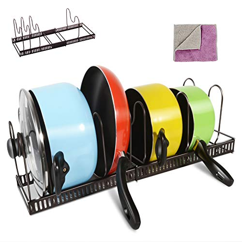 Masthome Adjustable Pan Organiser Rack Holds 7 Pans & Lids Cookware Holder for Kitchen Cupboard Cabinet Counter-Send 1 PC Cleaning Cloth