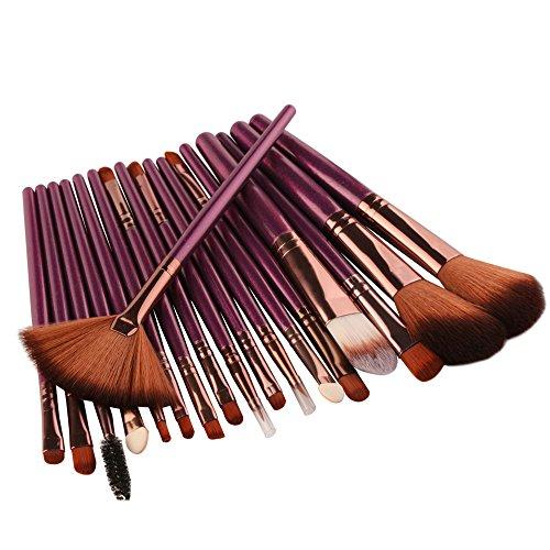 Nourich Pinceau de Maquillage Mode, Ensemble de Pinceaux de Maquillage CosméTique, Ensemble de Produits de Pinceau Pour Fond de Teint Liquide, Blush, Fond de Teint En Laine, 18 PièCes (Purple)