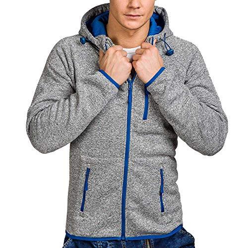 Xmiral Herren Pullover Mantel Herbst Winter Casual Reißverschluss Langarm Hooded Sweatshirt (M,Dunkelgrau)