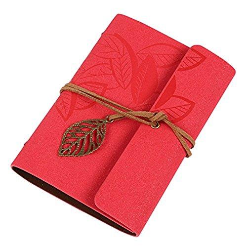 Cosanter Vintage-Notizbuch mit 80Seiten, Reisetagebuch, als Geschenk 14.5 x 10.5 cm rot