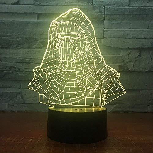 Darth Vader Helm 3D Nachtlicht Elektrische Täuschungslampe 3D LED 7 Farbwechsel USB...