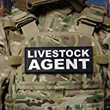 3x8' Livestock Agent Black White Hook Back Raid Patch for Police Plate Carrier by HightSeller