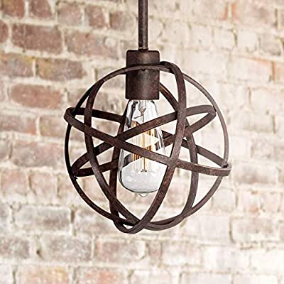 """Industrial Atom Bronze Orb Mini Pendant Light 8"""" Wide LED Metal Cage Fixture for Kitchen Island Dining Room - Franklin Iron Works"""