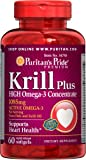 Puritan's Pride Krill Oil Plus High Omega-3 Concentrate 1085 mg-60 Softgels