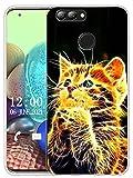 Sunrive Funda Compatible con Huawei Y9 (2018), Sunrive Silicona Slim Fit Gel Transparente Carcasa Case Bumper de Impactos y Anti-Arañazos Espalda Cover(X Gato)