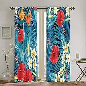 Bird Paradise Flower Curtain Thicken Silk Satin First Level Shading 52 x 72 in