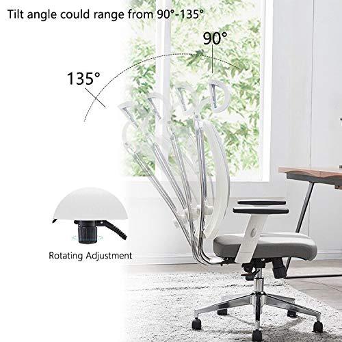 Cedric-sedia da ufficio in rete traspirante con supporto lombare ergonomico regolabile, sedia girevole bianca, braccioli e poggiatesta regolabili, sedile morbido