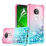 Moto G7 Power Case, Moto G7 Optimo Maxx XT1955DL/Moto G7 Supra Case with HD Screen Protector for Girls Women, Gritup Cute Clear Gradient Glitter Liquid TPU Phone Case for Motorola G7 Power Pink/Teal
