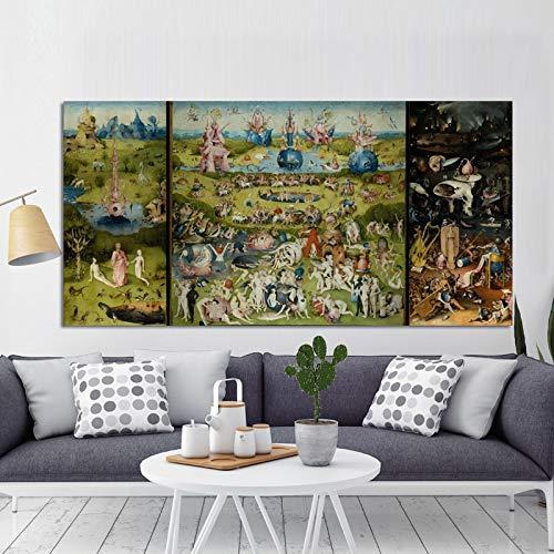 N / A Bosch Hieronymus irdische Gartenplakate, berühmte Klassische Gemälde, Drucke, Wandbilder und Ölgemälde für die Raumdekoration 30x60cm