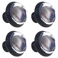 ドレッサーノブハードウェアラウンドノブ、取り付けネジ付きオフィスバスルームキッチンデコレーション用引き出しプル(4個)野球