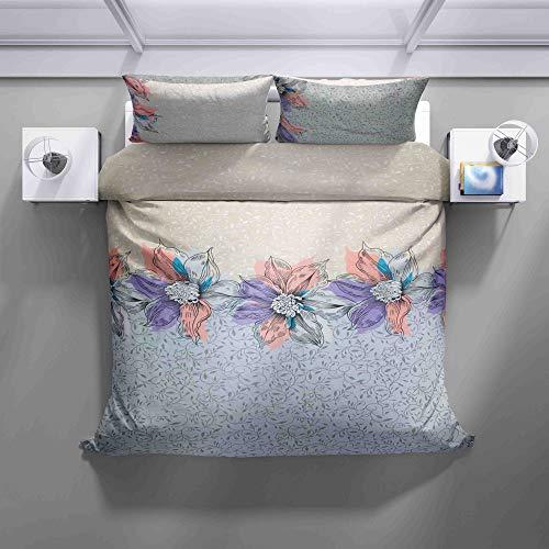 Juego de ropa de cama – 100% algodón – Hermosa ropa de cama de flores primaverales con cremallera – 2 unidades (1 funda nórdica de 140 x 200 cm + 1 funda de almohada de 70 x 90 – todo el año