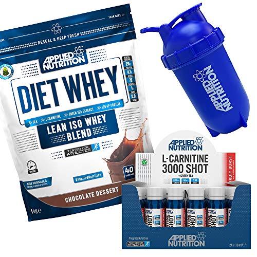 Applied Nutrition Bundle Diet Whey Protein Powder Low Carb Low Sugar 1kg + L Carnitine Liquid 3000 Shot 24 x 38ml + 500ml Bullet Protein Shaker (Chocolate)