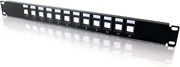 C2G 12-Port Patch Panel - Blank 1U Keystone Panel For Ethernet Cables - Works With Almost Any Snap-In Jack Including Cat6 - 03857