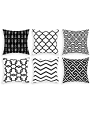 Swortrise Throw Pillow Covers Set of 6 Modern Decorative Throw Pillow Cases Geometric Pillow Covers Cushion Covers for Couch Sofa Bedroom Car (Black and White, 18 x 18 Inch)
