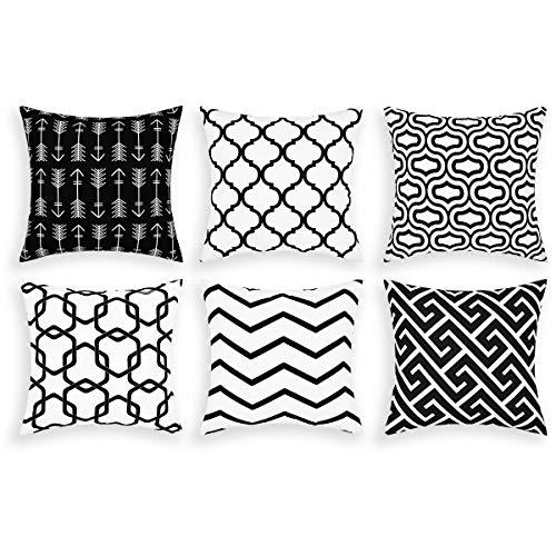 Alishomtll Juego de 6 fundas de cojín decorativas para exteriores, diseño geométrico, poliéster, 50 x 50 cm, color negro
